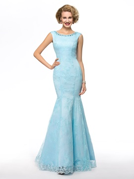 Sensual Beaded Mermaid Blue Long Lace Mother of the Bride Dress