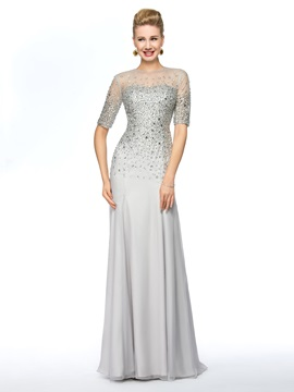 Half Sleeve Beaded Sheath Mother of the Bride Dress