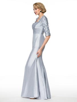 Keyhole Back Half Sleeves Flowers Long Mother of the Bride Dress