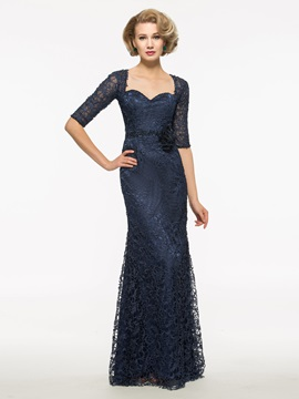 Half Sleeves Sheath Lace Long Mother Of The Bridesmaid Dress