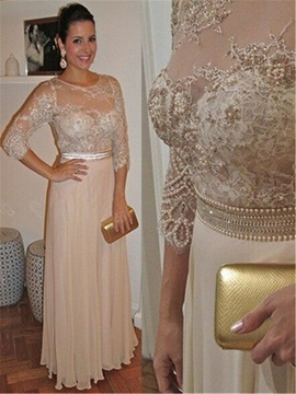 Modern 3/4 Length Sleeves Pearls Lace Mother of the Bride Dress