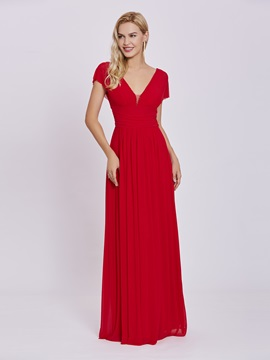 Simple V Neck Zipper-Up A Line Evening Dress