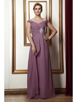 Elegant Appliques Button A-Line Off-the-Shoulder Floor-Length Alina