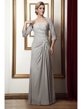 Gorgeous Column One-Shoulder Floor-Length Alina's Mother of the Bride Dress With Jacket/Shawl