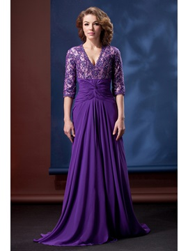 Delicate Lace Sequins V-Neck Half Sleeves Split-Front Daria's Mother of the Bride Dress