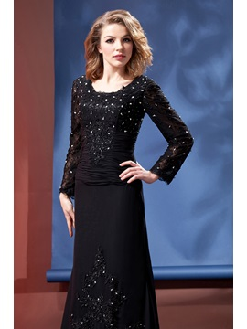 Trumpet Long Sleeves Beading Mother of the Bride Dress