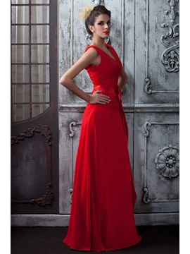 A-Line Ruched V-Neck Red Taline's Long Mother of the Bride Dress With Shawl
