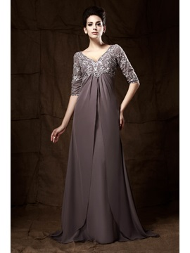 Appliques V-Neck Half Sleeves Empire Waist Mother of the Bride Dress