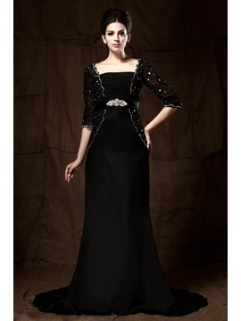 Delicated Lace Sequins Beading Sheath Half Sleeves Court Train Floor-Length Mother of the Bride Dress