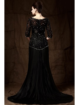 Lace Beading Half Sleeves Mother of the Bride Dress