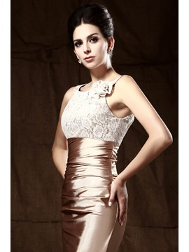 Glittering Sheath Scoop Neckline Lace Short Taline's Mother Of The Bride Dress