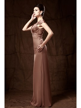 Elegant Column Cap Sleeves Sequins Pleats Taline's Mother of the Bride Dress