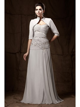 A-Line Pleats Sweetheart Applqiues Floor-length Mother of the Bride Dress With Jacket/Shawl
