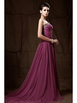 Graceful One-Shoulder Beading A-Line Long Taline's Mother of the Bride Dress