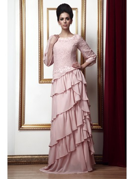 Tiered Lace Floor-Length Scoop Neckline 3/4 Sleeves Taline's Mother of the Bride Dress