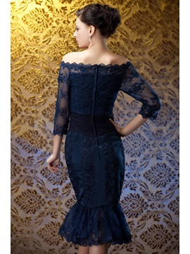 Perfect Sheath/Column Off-the-shoulder Tea-Length Polina's Mother of the Bride Dress