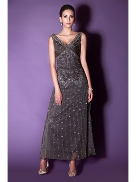 Graceful V-Neck A-Line Ankle-length Embroidery Sequins Taline