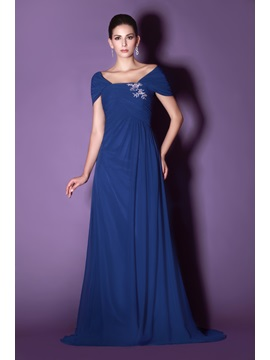 Elegant A-Line Off-the-Shoulder Appliques Court Train Taline's Mother of the Bride Dress