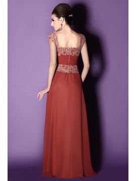 Charming Appliques Sheath Square Neckline Floor-Length Taline's Mother of the Bride Dress