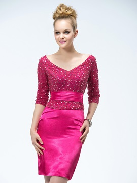 Modern Short/Mini V-Neck Half Sleeves Beadings Lace Cocktail/Formal Dress