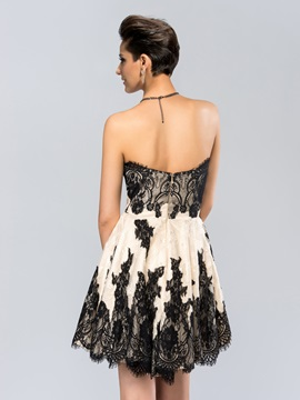 Cool Sweetheart Column Lace Short-Length Cocktail Dress