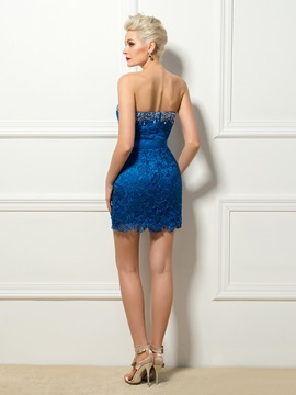 Modern Column Strapless Lace Pearls Mini Cocktail Dress