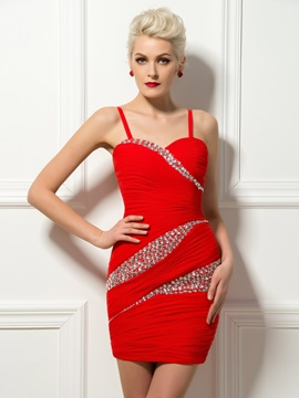 Chic Sheath Beading Spaghetti Straps Ruched Short Cocktail Dress