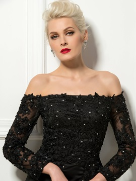 Stylish Off-the-Shoulder Long Sleeves Lace Beading Sheath Cocktail Dress
