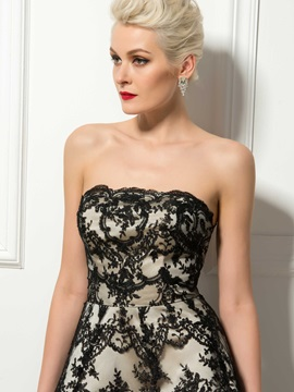 Timeless Strapless Lace A-Line Knee-Length Cocktail Dress