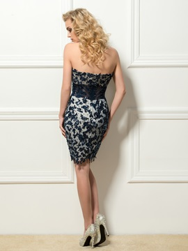 Ladylike Sweetheart Column Appliques Short Cocktail Dress