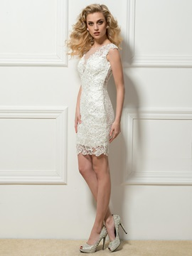 Scoop Neck Sleeveless Lace Beading Column Short Cocktail Dress