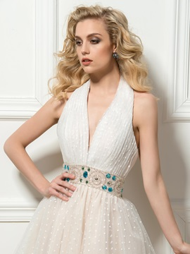Stylish Halter Deep V-Neck Beading Knee-Length A-Line Cocktail Dress