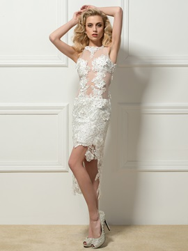 Great Jewel Neck High-Low Lace Sheath Cocktail Dress