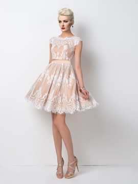Timeless A-Line Lace Sashes Cap Sleeves Knee-Length Cocktail Dress Designed