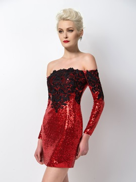 Sexy Off-the-Shoulder Long Sleeves Sequins Appliques Short Cocktail Dress Designed