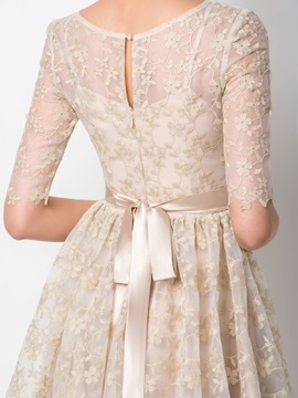 Classical Scoop Neck Lace Sashes Half Sleeves Short Homecoming Dress Designed