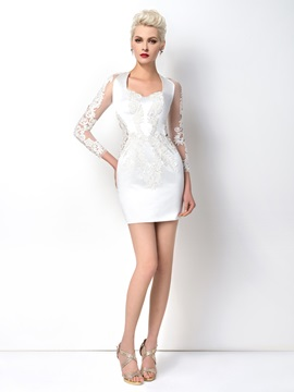 Sheath Appliques 3/4-Length Sleeves -up Short Cocktail Dress Designed