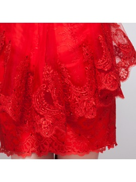 Fancy High Neck Lace High Neck Beading Short Red Cocktail Dress