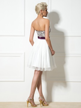 Modern Sweetheart Sequined Beading A-Line Lace Short Cocktail Dress