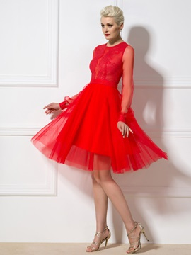 Fancy Jewel Neck Lace Long Sleeves Knee-Length Cocktail Dress