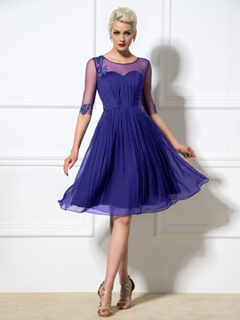 Sheer Neck Appliques Sequined Cocktail Dress