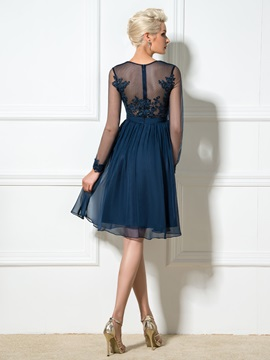 V-Neck A-Line Appliques Pleats Cocktail Dress