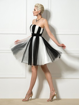 Casual Strapless Color Block Ruffles A-Line Short Cocktail Dress