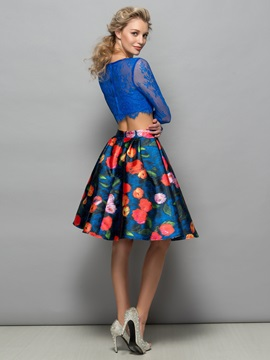 Long Sleeve Lace Print Two Piece Cocktail Dress