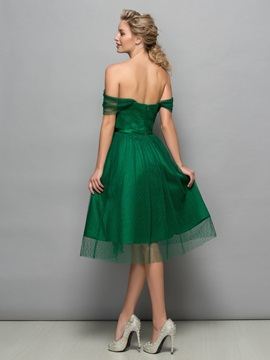 Simple Off the Shoulder Sash Knee-Length Tulle Cocktail Dress