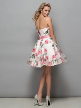 Pretty Strapless A-Line Print Cocktail Dress