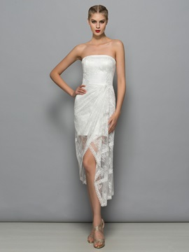 Fancy Strapless Asymmetrical Sheath Lace Party Dress