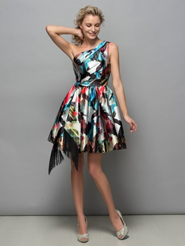 Modern One Shoulder Pleats Tassel Print Cocktail Dress