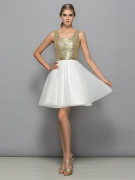 Amazing Straps Short Sequins Cocktail Dress