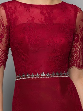 Classy Half Sleeve Beading Sheath Lace Formal Dress